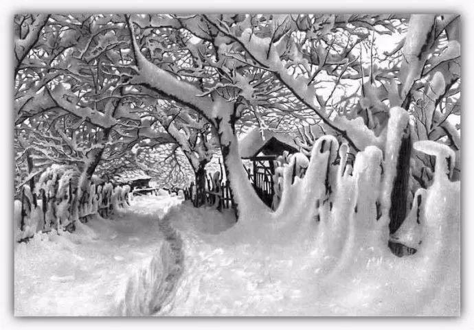 他画的雪景素描怎一个细腻形容,简直是超级震撼!