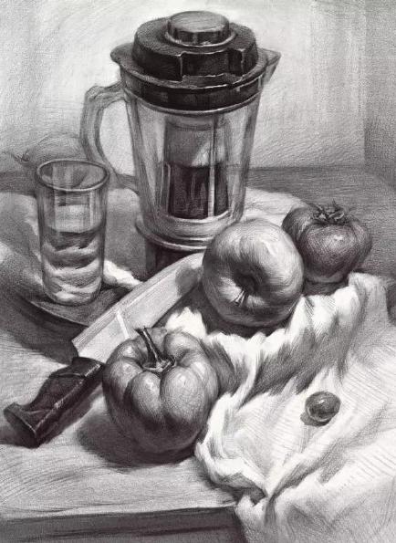 青桐教育 美术生素描静物透明器皿组合画法