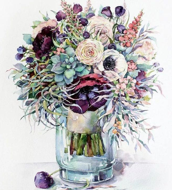 俄罗斯插画师 elena vavilina 的水彩花卉作品