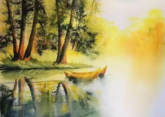 水彩笔下的春夏秋冬,美得睁不开眼!图片