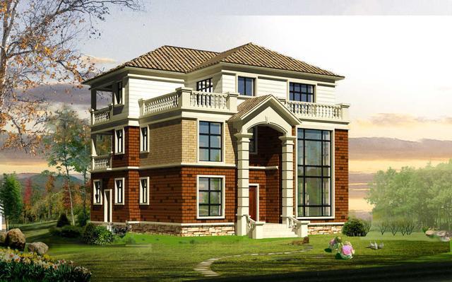 14x13米三层农村别墅,复式带堂屋小洋楼