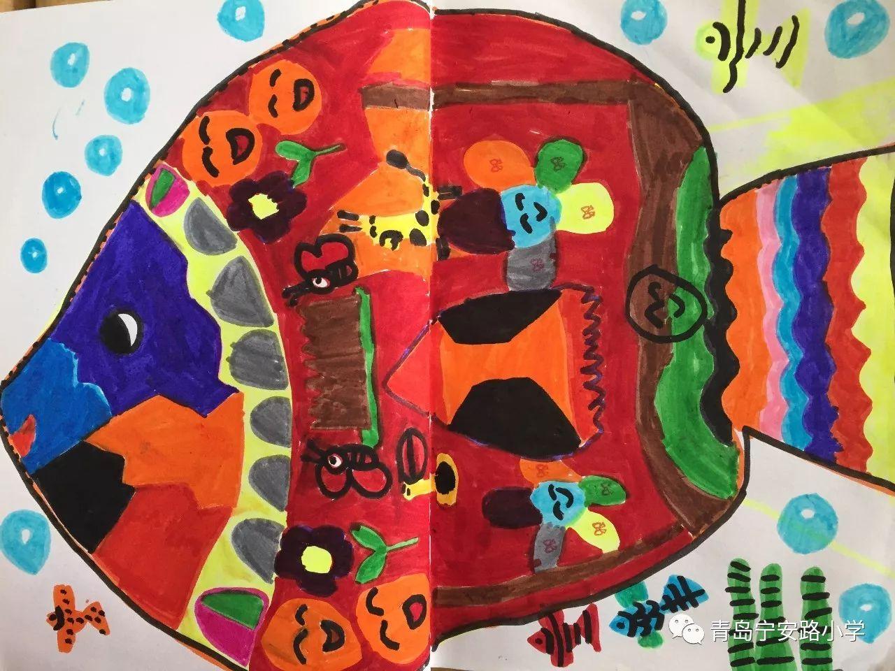 谁画的鱼最大 一年级美术课堂作品展