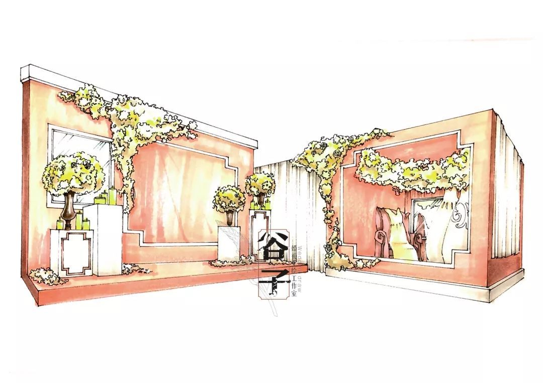通过马克笔纸面手绘设计快速出图 高效地与客户沟通宴会现场的效果