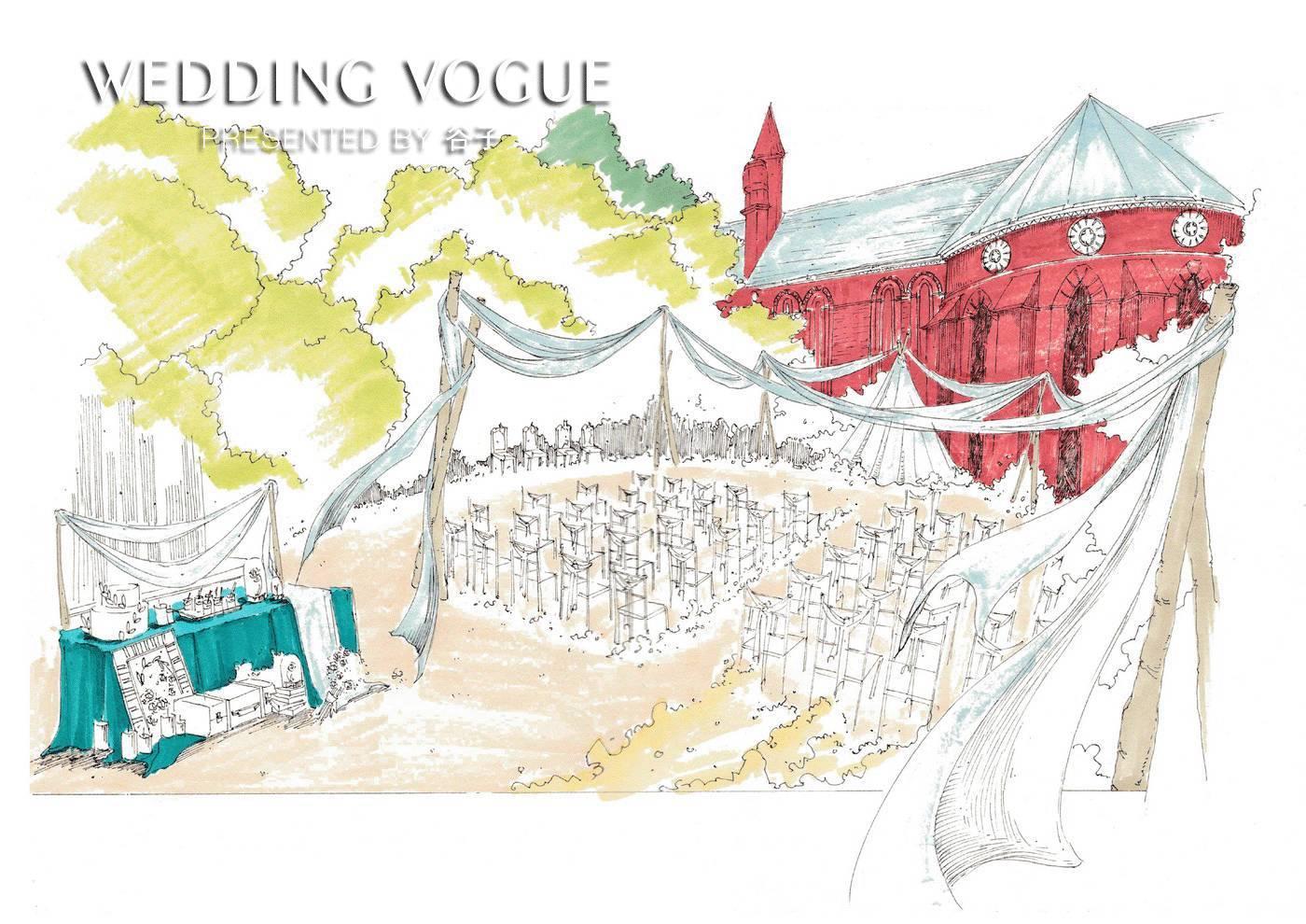 【婚礼手绘】还原户外小清新婚礼场景仅需两步