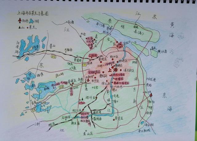 中国四大直辖市主要旅游手绘地图