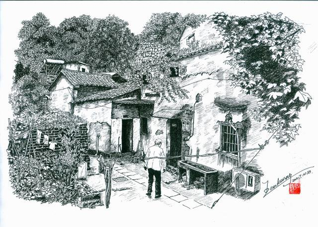 钢笔画风景古城