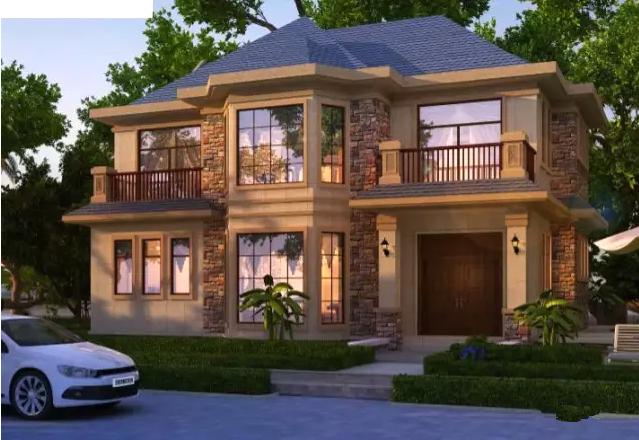 2套两层农村小别墅洋楼, 外墙采用大理石外墙加文化石