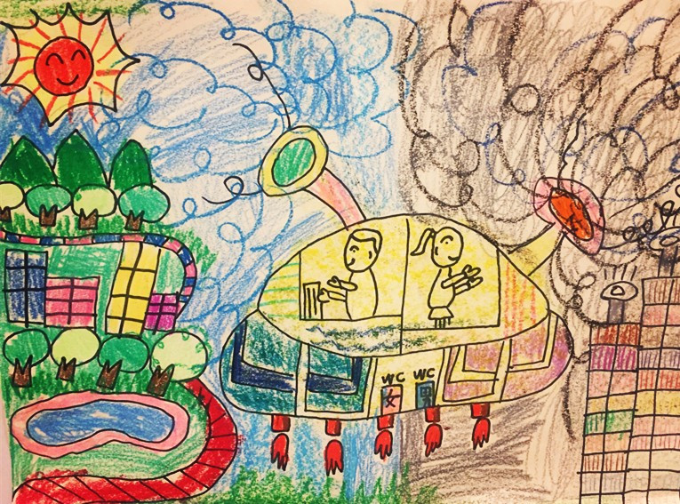 乐天百货文化中心店   儿童创意环保绘画作品展开展啦