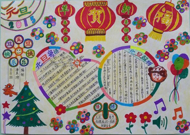 中小学元旦手抄报与黑板报制作:感受传统节日浓烈的韵味,太全了
