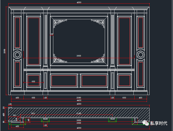 cad厨房摆放平面图