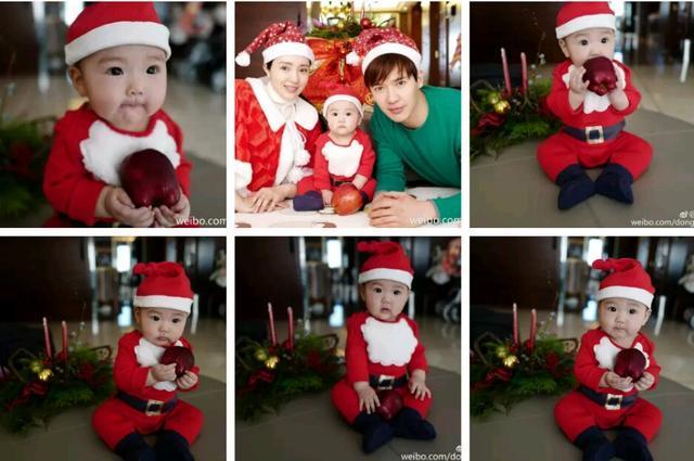 董璇高云翔一家三口圣诞写真 把女儿小酒窝亲到脸蛋儿变形!