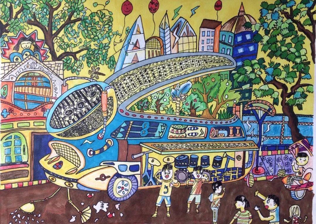 我校学生参加第12届河源市青少年科技创新大赛少年儿童科学幻想绘画图片
