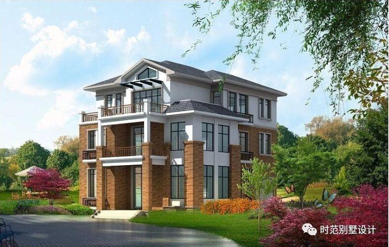 10x13米中式农村别墅,车库阁楼露台阳台,9室4厅1书房6