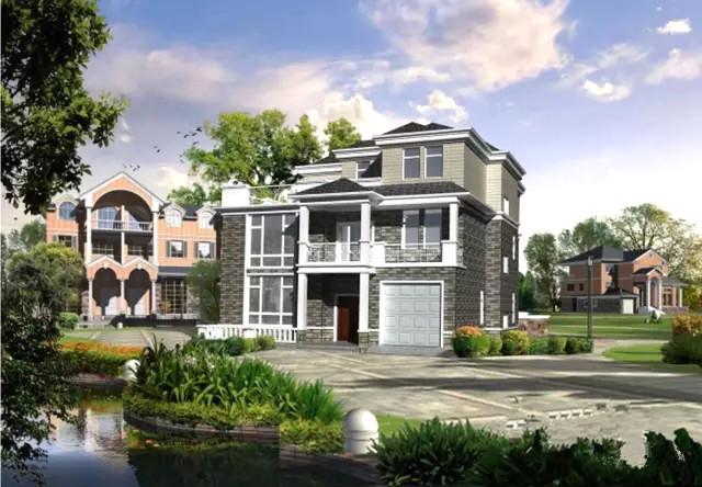 2米(含屋顶)坡屋顶,是一栋欧式风格的乡村三层别墅.