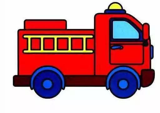 带颜色的消防车简笔画图片