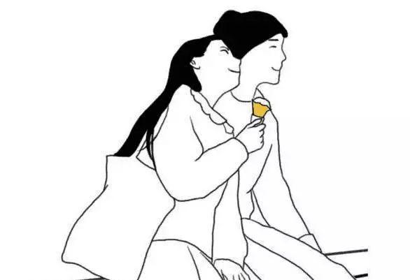 两个女生拥抱手绘