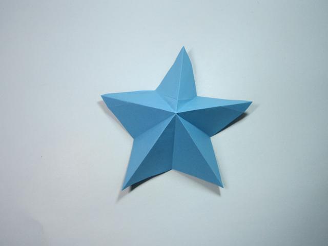 儿童手工折纸:简单的立体五角星折纸步骤图解