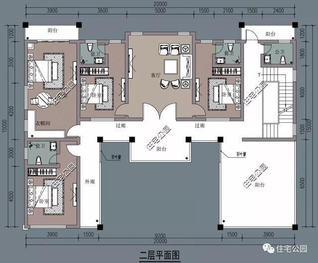 二层多阳台, 呈l型布局,卧室均带卫生间设计,以丰富农村人的日常生活图片
