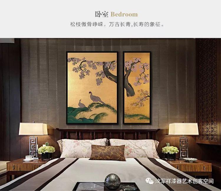【汶军祥漆艺·金箔漆画】手绘装饰画日式手绘金箔画客厅书房挂画
