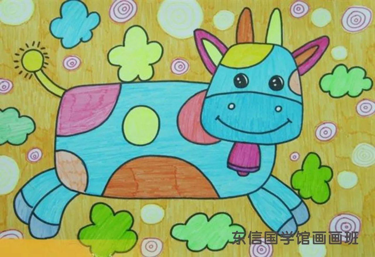 儿童画画学习 儿童画奔跑的小牛 儿童水粉画 百人简笔画 儿童简笔画图片