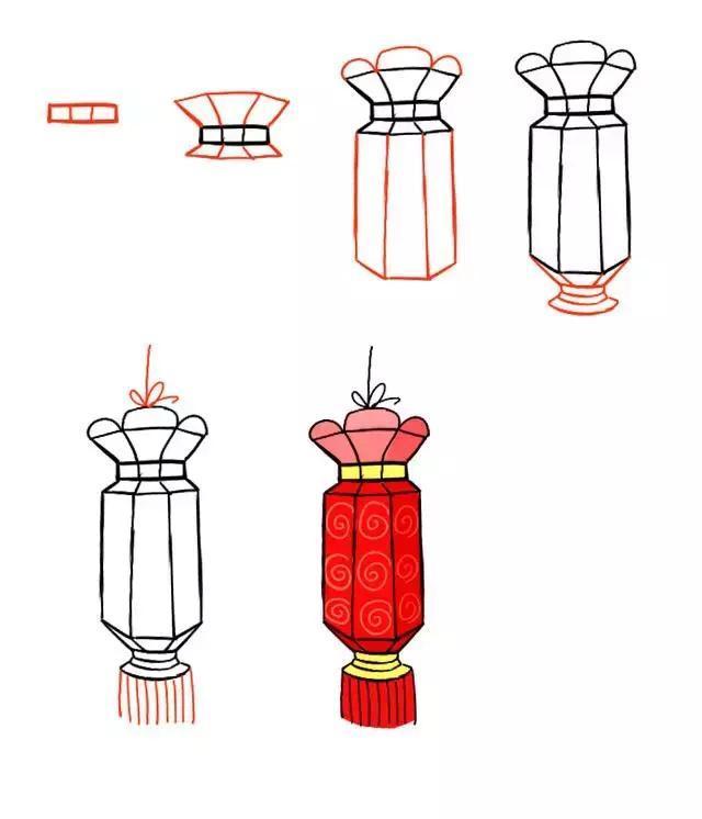 儿童简笔画 元旦春节灯笼绘画教程,几步就能画出节日感
