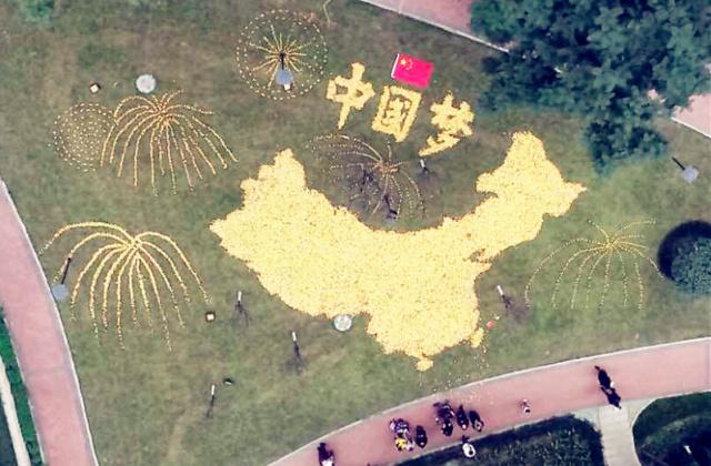 """用银杏叶编织""""中国梦"""",这些创意园景美到爆!图片"""