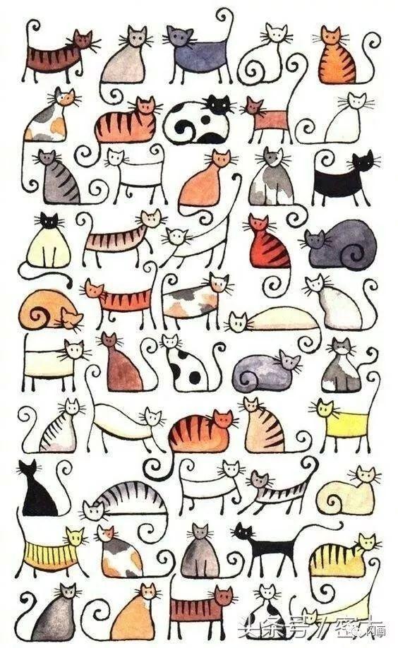 150幅猫咪简笔画,手绘必备!