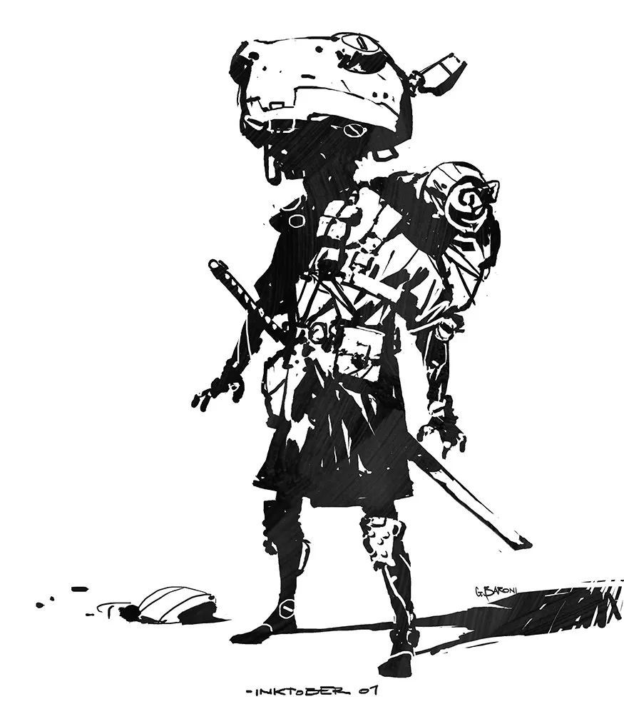 邪恶人物手绘黑白