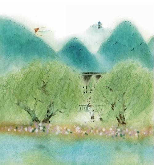 村居配图简笔画-读诗词的孩子,气质不同凡响