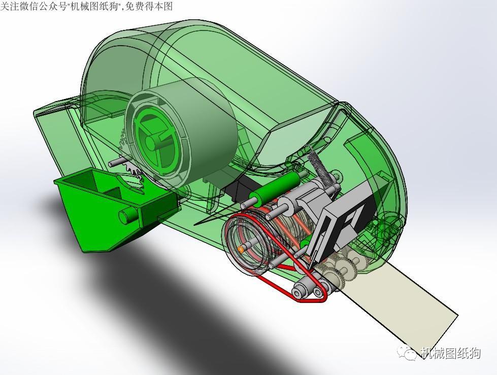 【工程机械】透明胶带切割机3d模型图纸 solidworks设计