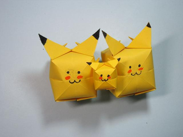 儿童手工折纸:皮卡丘的折法步骤图解图片