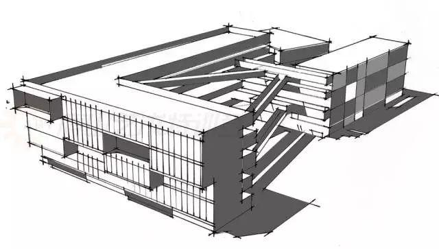 建筑空间多选用两点透视来表现体块感.