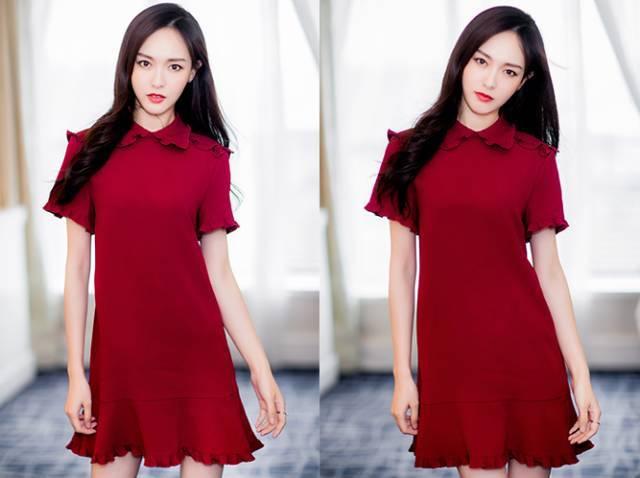可爱卡通红裙服像