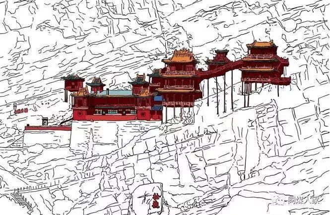 大同钟楼,文庙,善化寺等50幅大同古建手绘图赢得网友纷纷点赞.