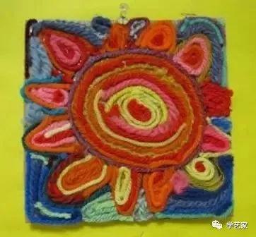 儿童创意绘画,用五彩缤纷的毛线去作画