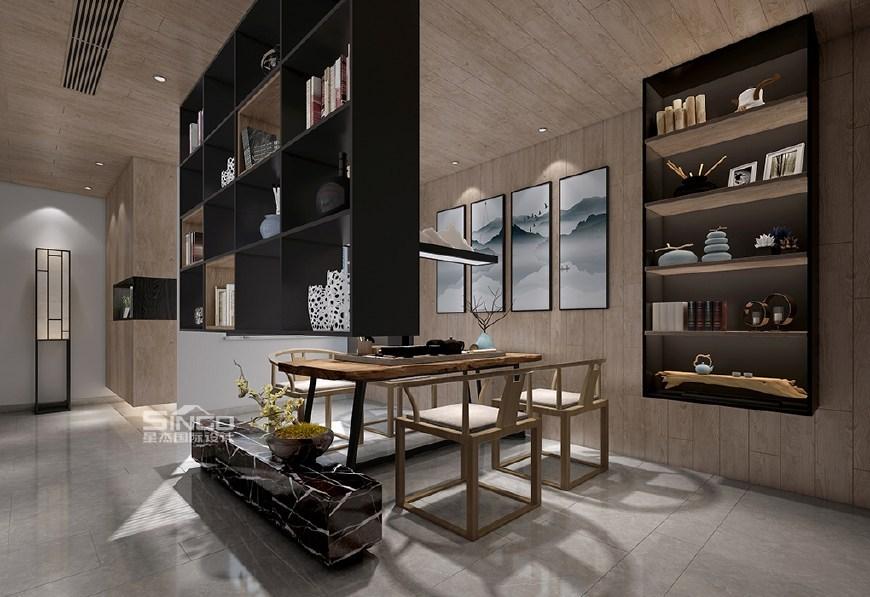 餐厅——浅木色饰面板,浅灰色瓷砖,落地窗,古典灯具,整个空间色彩简约