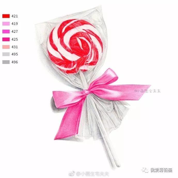 彩铅手绘--送你一颗棒棒糖,愿你一直被这个世界甜甜