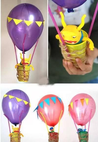 幼儿园一次性纸杯手工制作热气球,简单又好看