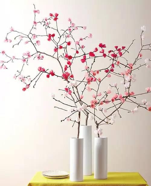 树枝遇上彩色纸