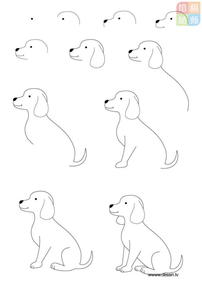 今天教大家画小狗狗简笔画,保证大家一学就会,板报网小编为你推荐宝宝学画狗狗   简笔画教程
