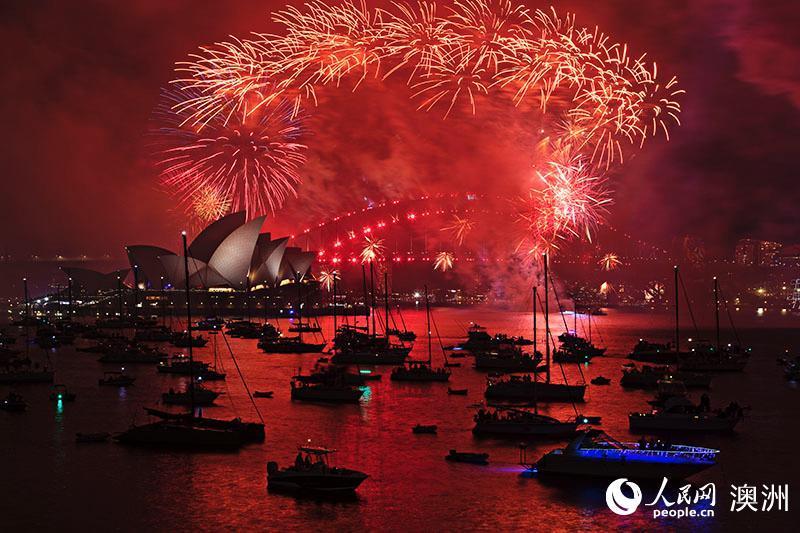 悉尼烟花庆典装点新年夜空