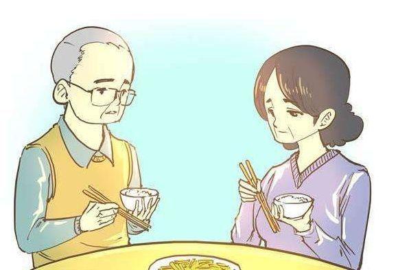 家人一起吃东西手绘