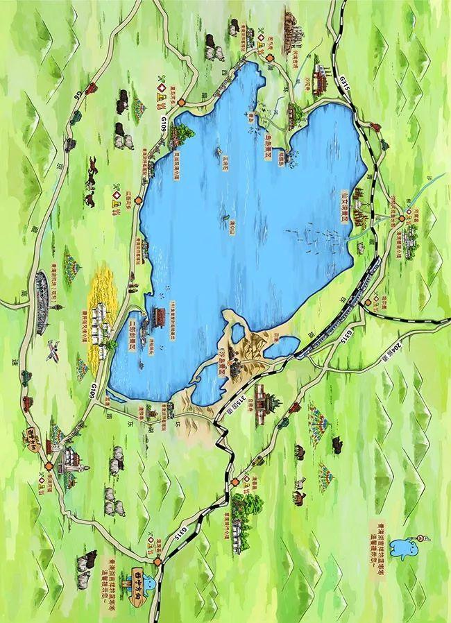 """奥珀体育版蓝嘟嘟"""" 青海湖手绘地图""""魔术头巾 包女士 / 137-0975"""