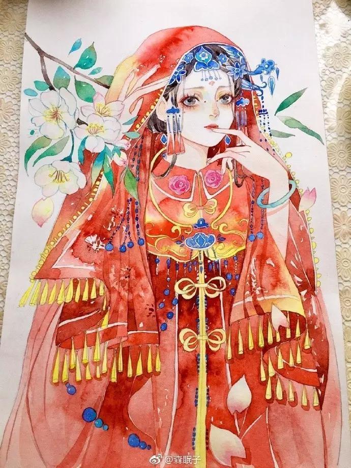 艺术分享:超详细古风美女水彩手绘教程