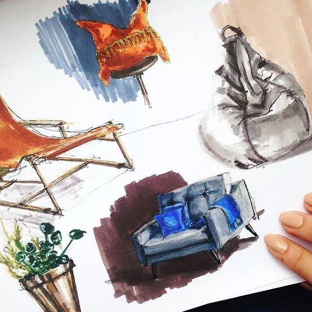 手绘家具三视图练习