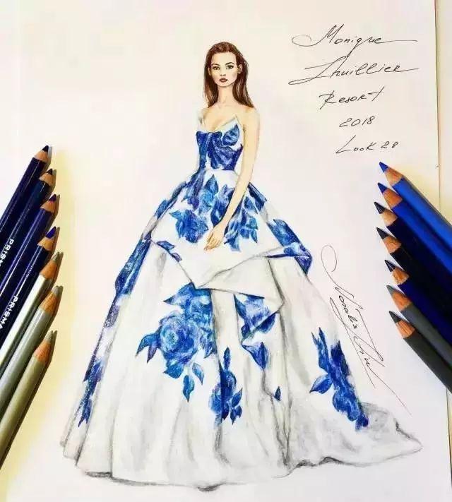 时装手绘 | 婚纱礼服手绘图稿大全,款款都是精品!