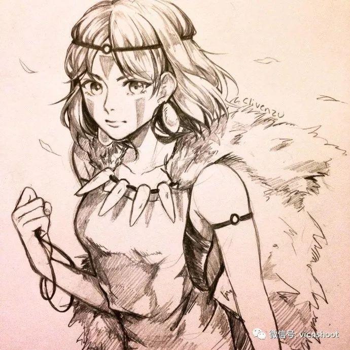 绘画|一组动漫美少女铅笔画