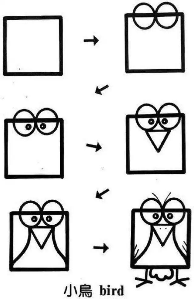 方形还可以画动物,这种简笔画学起来(带步骤)