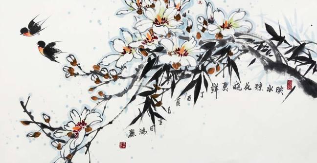 张鸿丽国画花鸟作品赏析 结构严谨,题材浪漫