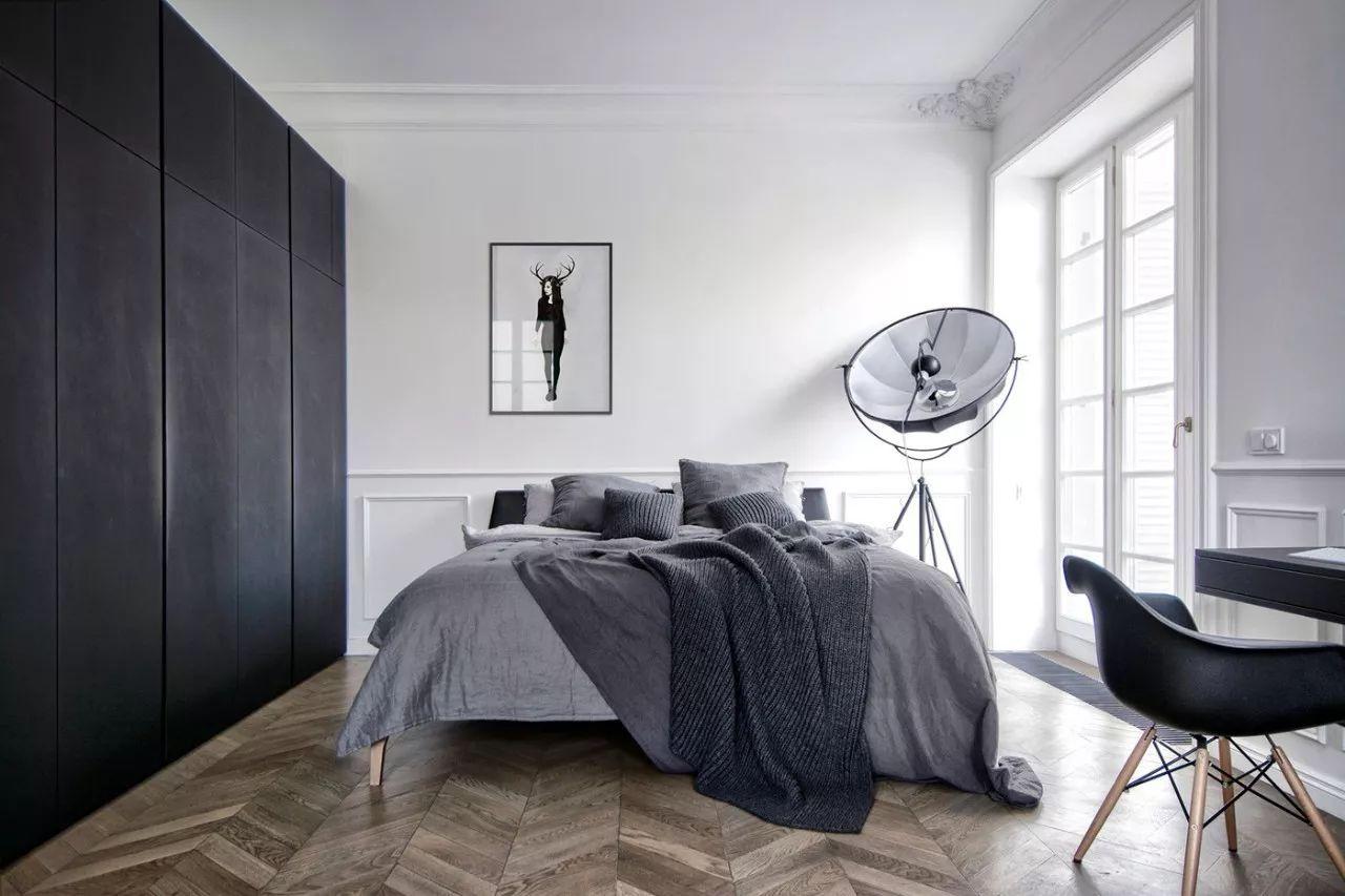 极简卧室黑白摄影白极简装修风格卧室图片7
